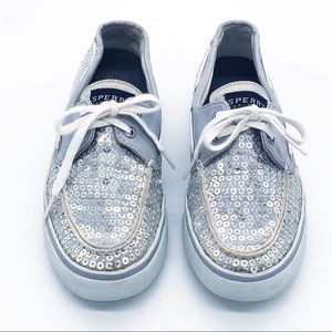 Silver Sequin Sperry Top Siders